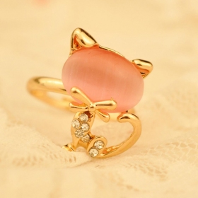 Lovely Chic Quality Cat Red Pink Rhinestone Animal Rings Jewelry