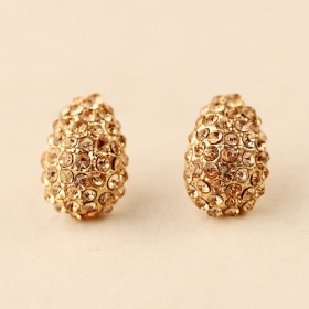 Fashion Elegant Beatles Champagne Diamond Water-drop Stud Earrings