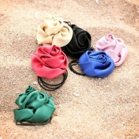 Korean Fashion Silk Rose Flower Ponytail Holders