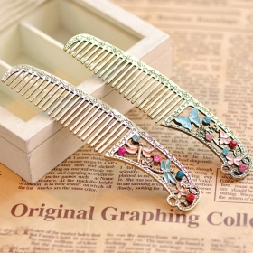 Vintage Butterfly Dragonfly Rhinestone Alloy Hair Combs