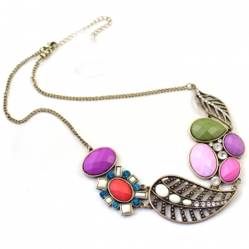 Fashion Mediterranean Sea Multi-color Rhinestone Chain Necklaces