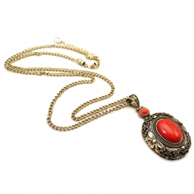 Vintage Red Stone Chain Necklace