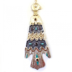 Egyptian Pyramids Bird Gold Plated Alloy Chain Necklace