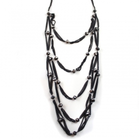 Blcak Alloy Glass Beads Multilayer Chain Necklace