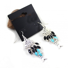 Fashionable Multicolor Alloy Rhinestone Litter Fish Drop Earring