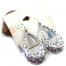 Vintage Silver Hollow-out Water-drop Earrings