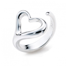 Fashion Simple Silver Heart Band Ring