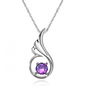 Exquisite Angel's Love Purple Crystal Silver Pendant Necklace