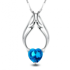 Luxury Angel's Wing Silver Crystal Pendant Necklace