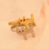 Vintage Simple Lovely Cat Shape Animal Band Ring for Women