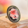 Vintage Big Rose Natural Stone Cocktail Ring
