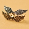 European Style Vintage Wing Rhinestone Double Ring