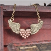 Vintage Pink Pearl Love Heart Wigs Style Chain Necklace