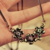 National Vintage 3-flowers Rhinestone Ladies' Chain Necklace