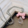 Lovely Pink Bow Ball Water-drop Shape Ladies' Chain Necklace