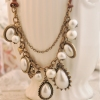 Antique Drop Pearl Pendant Bib Necklace