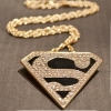 Fashion Golden Superman Sign Triangle Pendant Necklace