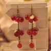 Vintage Jewelry Lovely Long Drop Dangel Earrings with Red Cherry