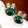 Lovely Blue Rabbit With Rhinestone Chic Stud Earrings