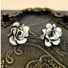 Elegant Black/white Resin Rose Ladies' Flower Stud Earrings