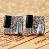 Elegant Black White Splended Square Stud Earrings