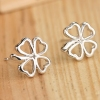 Fashion Silver Hollowed Four Leaf Clover Stud Earring