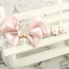 Korean Fashion Pearl Drop Butterfly Knot Hair Clips