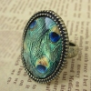 Vintage Peacock Feather Band Rings