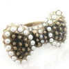 Vintage Bowknot Shape Pearl Band Rings