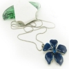 Unique Blue Flower Pendant Long Chain Necklace