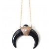 Fashion Long Black Horn Chain Pendant Necklace