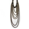 Gold Plated Alloy Black Ribbon String & Strand Necklace