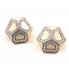 Simple Elegant Golden Pentagon Stud Earrings