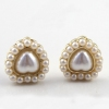 Vintage Golden Heart Shape Pearl Stud Earring