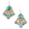 Golden Natural Stone Tassel Rhinestone Water-drop Earrings