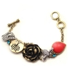 Vintage Red Stone Rose Flower Link Bracelets