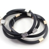 Fashion Black Leather Rhinestone Bangle Bracelets