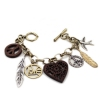 Vintage Heart Feather Swallow Link Bracelet