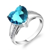 Luxury Blue Crystal Silver Ring