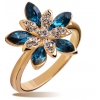 Luxury Yellow Austrian Crystal Flower Ring