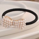 Pearl Butterfly Knot Ponytail Holders for Meatball Hairstyle