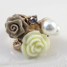 Fashion Flower Pearl Rhinestone Flower Ring
