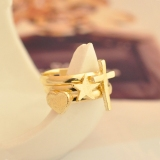 Vintage Chic Cross Heart Star 3Pcs Band Ring Set