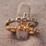 Simple Rhinestone Butterfly Knot Cocktail Rings