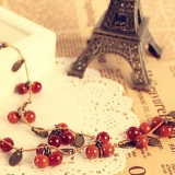 Vintage Jewlery Lovely Cherry Alloy Chain Necklace