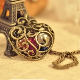 Hollowed Heart Shape with Pearl Ladies' Vintage Pendant Necklace