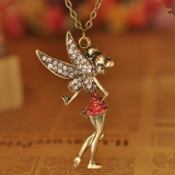 Vintage Jewelry Wing Angel With Wing Bling Rhinestone Chain Necklace