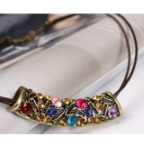Vintage Leather String Pendant Necklaces With Rhinestone