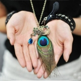 Vintage Peacock Feather Rhinestone Long Chain Sweater Necklace
