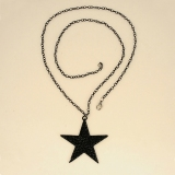 Fashion Black Star Rhinestone Embedded Chain Pendant Necklace